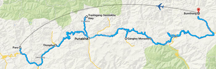 bhutan luxury travel map